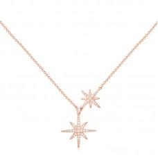 APMMONACO女士玫瑰金色925银色锆石项链