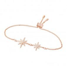APMMONACO女士玫瑰金色925银锆石手链