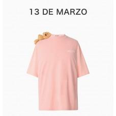 13DEMARZO女士粉色肩膀小熊T恤