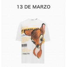 13DEMARZO女士白色小鹿图案T恤