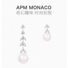 APMMONACO女士不对称花瓣珍珠耳环