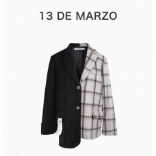 13DEMARZO女士拼接黑西装外套